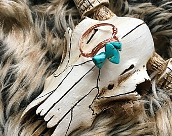 Turquoise Wire Wrapped Ring, Wire Wrapped Ring, Boho Ring, Statment Ring