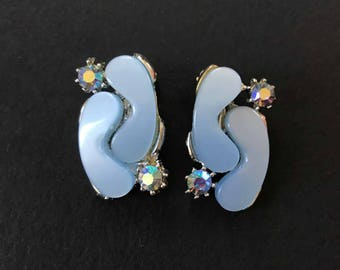 1960's Frosty Blue Lucite Earrings