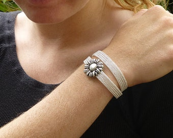 Mother's Day Gift Silver Mesh Bracelet for Women, Sunflower Bracelet Wrap, Silver and Silver Bracelet, Sunflower Charm Jewelry, Double Wrap