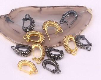 20pcs Pave Gold / Black Crystal Rhinestone Dangle Beads Clasps, Pendant Bails Jewelry Findings
