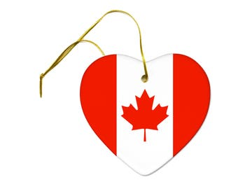 Flag of Canada on a Ceramic Hanging Heart Ornament