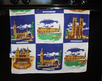 Lovely London Landmark Linen Tea Towel, Vintage Kitchen Towel