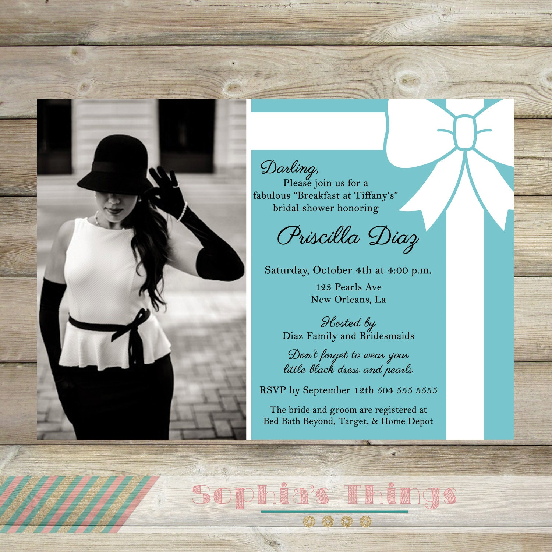 Breakfast at Tiffany\'s Bridal Shower Printable Invitation