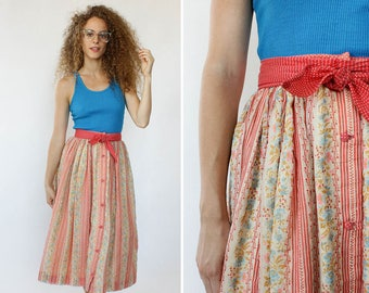 Tapestry Skirt XS • 70s Skirt • Full Midi Skirt • Folk Skirt • Cotton Gauze Skirt • Flare Midi Skirt • High Waisted Skirt | SK940