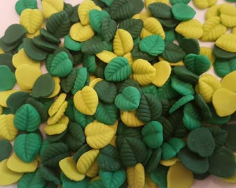 30 Edible Green Sugar Leaves Spring Birthday Wedding Anniversary Party Cake Cupcake Toppers
