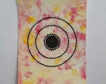 """original mini painting """"fiery mandala"""""""