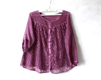 Vintage Dark Pink Purple Blouse Cotton Silk See Through Shirt Large Size
