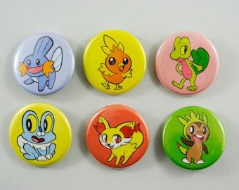 Starter Pokemon Buttons - X & Y (Kalos) + Ruby/Sapphire/Emerald (Hoenn)