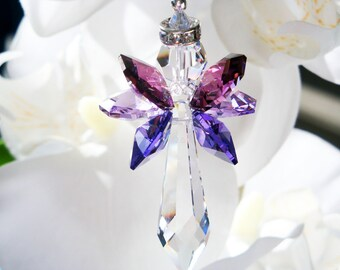 Guardian Angel Rear View Mirror Charm, Purple Swarovski Crystal Angel Suncatcher, Car Accessories, Sun Catcher