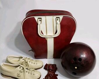 1950s Vintage Bowling Ball Bag Shoes Pow-r Wrister Set Brunswick 13Lb 6 1/2 6.5