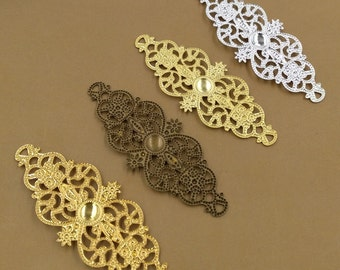 50PCS Brass 60x25mm Filigree Floral Base Setting Raw Brass/ Antique Bronze/ Silver/ Gold Plated Filigree Components Stamping