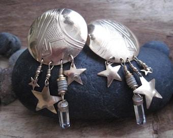 Vintage Tabra Gold Vermeil Stars and Crystal Dangle Earrings