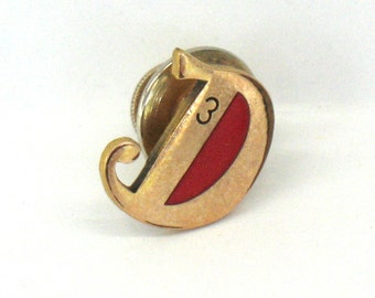 SALE Restaurant Pin Dennys Service Award Pinback 3 Years Lapel Tie Tac Pin CTO 1/10 10K
