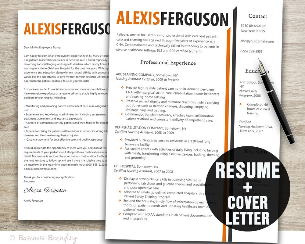 Orange grey resume template word cover letter template zoom xflitez Gallery