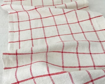 Red Checked Striped Linen for Tables Upholstery Projects Vintage Fabric Handmade Linen - By The Metre