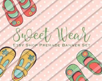 "Etsy Shop Banner Set - Graphic Banners - Branding Set - ""Sweet Wear"""