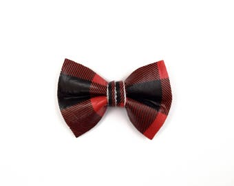 Red/Black Plaid Leather TINY Alligator Clip Bow for Newborn Baby Child Little Girl Adult Photo Prop Adorable Photo Holiday Christmas Bow