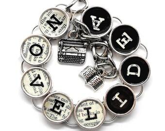 Writer's Bracelet Novel Idea Book Writer Gift Literary Writing Themed Charm Jewelry