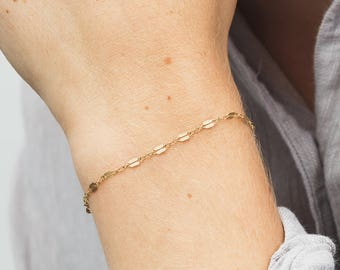 Delicate Lace Chain Bracelet - Gold, Silver, Rose Gold, Bracelet - Minimal Layering Bracelet - Stacking Bracelet - Layered and Long LB007