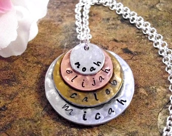 Personalized Jewelry, Mommy Necklace, Mother's Day Jewelry, Personalized Necklace, Hand Stamped Jewelry, 4 discs