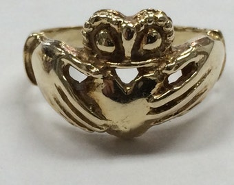 14K Yellow Gold CLADDAUGH Ring Size 7 BEAUTIFUL 6.5 grams!