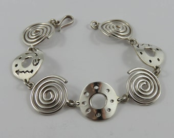 "Ladies Sterling Silver 7"" Round  Link Bracelet"
