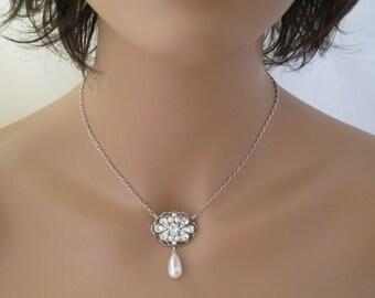 Antique silver wedding necklace-Pearl teardrop bridal necklace-Vintage style-Rhinestone pendant-Swarovski crystal and pearl necklace