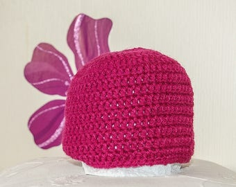 Handmade baby girl or boy hat, size newborn to 3 months new wool