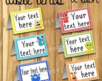 Monster food tent cards Name cards Table place cards Table decorations Monster baby shower Monster birthday Monster party decor 12 PRECUT