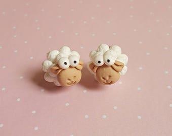 Sheep Earrings - Easter Earrings - Sheep Studs - Kids Earrings - Animal Earrings - Lamb Earrings - Sheep Jewelry - Sheep Gifts