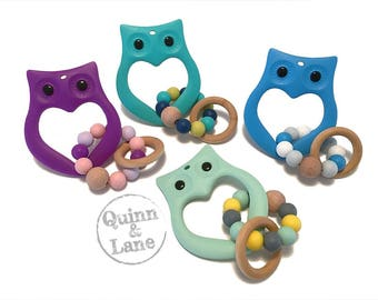 Silicone Teething Ring Owl Teether - Baby Toy - Silicone Beads - Teether Teething Toy - Chew Jewelry Beads - Chew Toy Beads - Rattle Rings