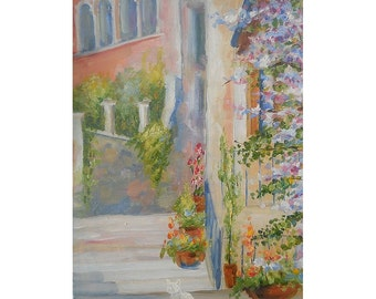 Still Life Oil Painting Italy Town Landscape Bystreet White Cat Stair Custom Townscape Street Art Photo to Painting Flowers Realism Pastel