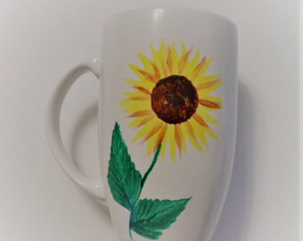 Sunflower Cup Hand Painted Sunflower Coffee Cup Sunflowers Mugs Hand Painted Sunflower Coffee Mugs