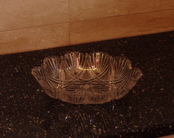 Clear Glass Fluted Nappy Dish