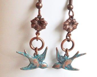 Small Bird Earrings - Teal Copper, Bird Jewelry, Nature Jewelry, Garden Jewelry, Flower Jewelry, Botanical Jewelry, Flower Earrings