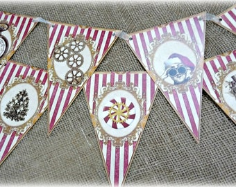 Steampunk Christmas Bunting/Banner & Ribbon - 3m