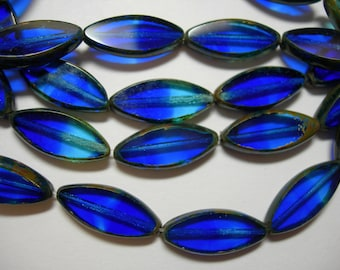 10 Czech Glass Cobalt and Aqua Spindle Marquise Beads 18x7mm