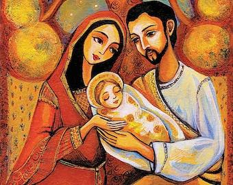 Tree of Life Nativity Holy Family Virgin Mary Jesus mother son religious painting Christian art, mother son, feminine decor print 7x12+