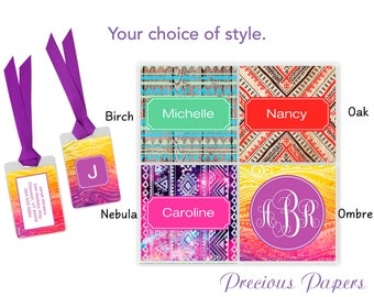 2 Personalized luggage tags - bohemian style luggage tags, bohemian style bag tags, book bag tags