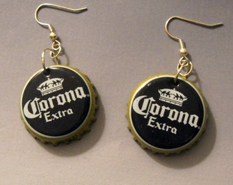 Recycled Beer Bottle Cap Earrings Corona Extra