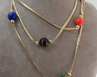 Vintage Venetian Art Glass Bead Necklace w/ Gold Fluss    PS43