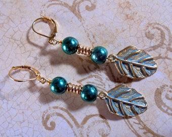 Teal Blue Patina Leaf Earrings (4073)