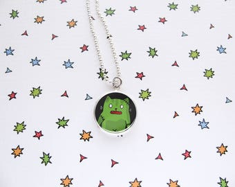 Frankenkitty Necklace, Frankenstein's Cat, Halloween Pendant, Green Jewelry, Funny Kitty, Cat Lover Gift, Silver Plated, Ball Chain