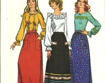 1970s Simplicity  9771 Misses Blouse and Long Skirt Pattern, Size 12 UNCUT