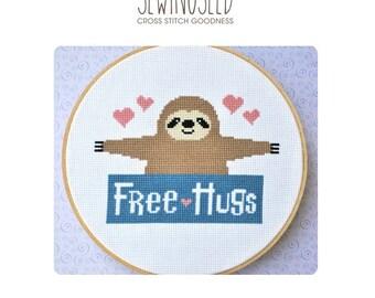 Cross Stitch Pattern, Sloth, Free Hugs Counted Cross Stitch Pattern, Instant Download