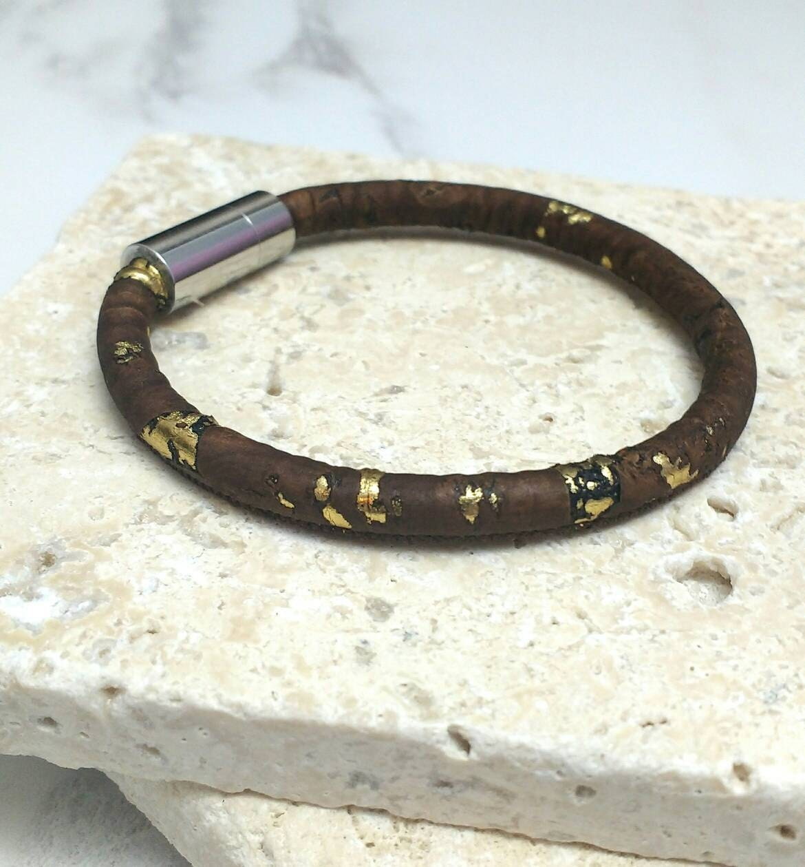Vegan cork leather bracelet, dark brown and gold flecks with magnetic clasp