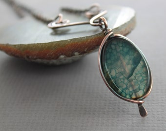 Framed blue with gray agate copper necklace on arch - Stone necklace - Agate necklace - Oval pendant - Statement necklace - NK010