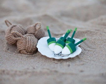 Nautical Wedding  - Lobster Buoy Keychain - Set of 3 Green and White Wedding Favor, Miniature Lobster Buoy Wedding Favors Nautical Wedding