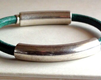 Teal Leather Bracelet
