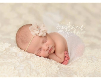 Chiffon Flower Headband Taupe Baby Bow Headband Newborn Headband Infant Headband Girls Headband Toddler Headband Photography Prop Hair Bows
